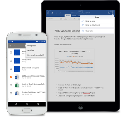A tablet and a smartphone showing the share menu in OneDrive for Business.