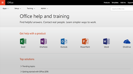 Screenshot of Office help and training in Office 365
