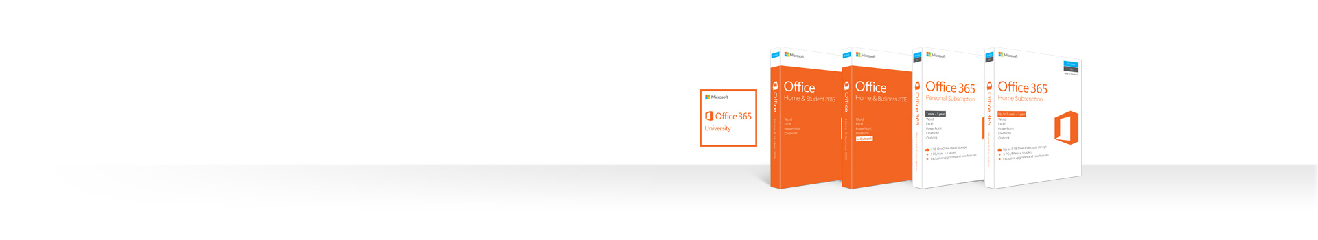 A row of boxes of Office 2016 and Office 365 products for Mac