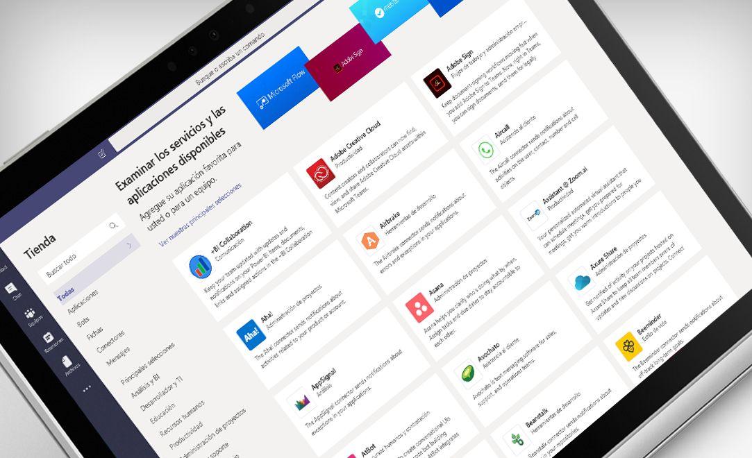 Pantalla de un portátil en la que se muestra la aplicación de Microsoft Teams