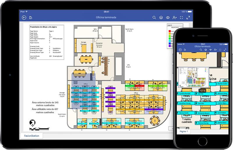 iPad y iPhone en los que se muestra el diagrama de una reunión en Visio