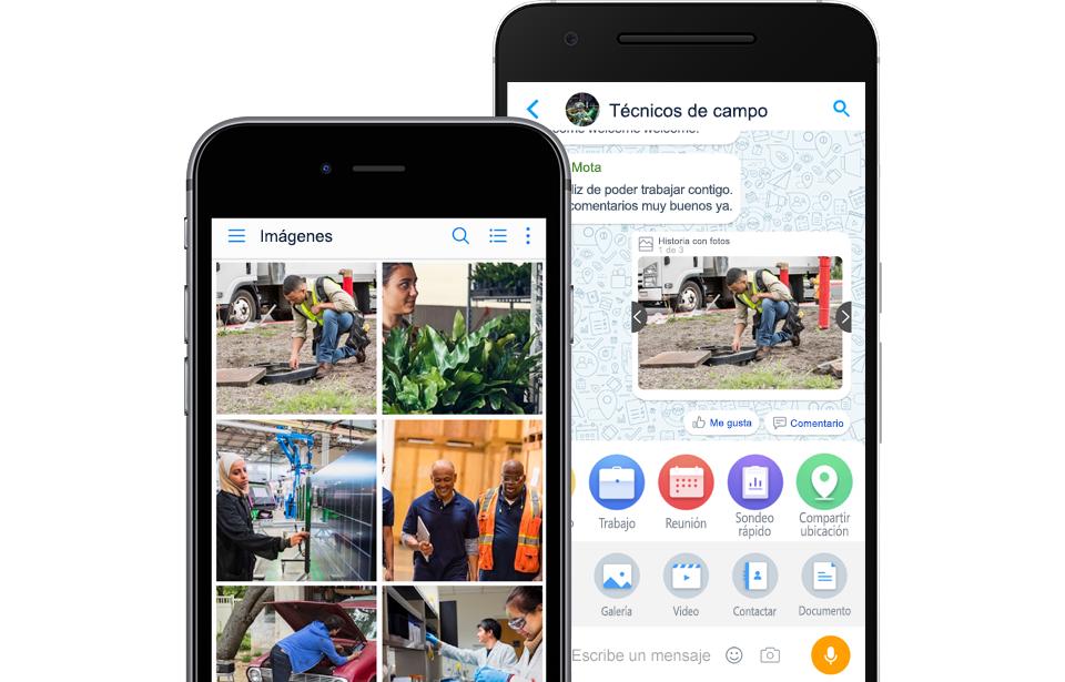 Fotografía de Android con pantalla de evento de Kaizala que muestra información como una foto con ubicación y un iPhone con una pantalla de chat de Kaizala que muestra una lista de chats