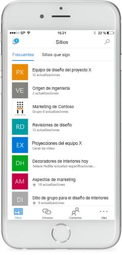 Teléfono en el que se ve la aplicación móvil de SharePoint en la pantalla