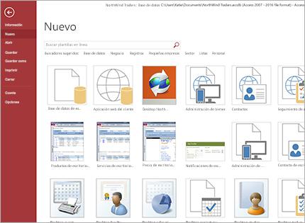 Captura de pantalla de una plantilla de aplicaciones de base de datos.