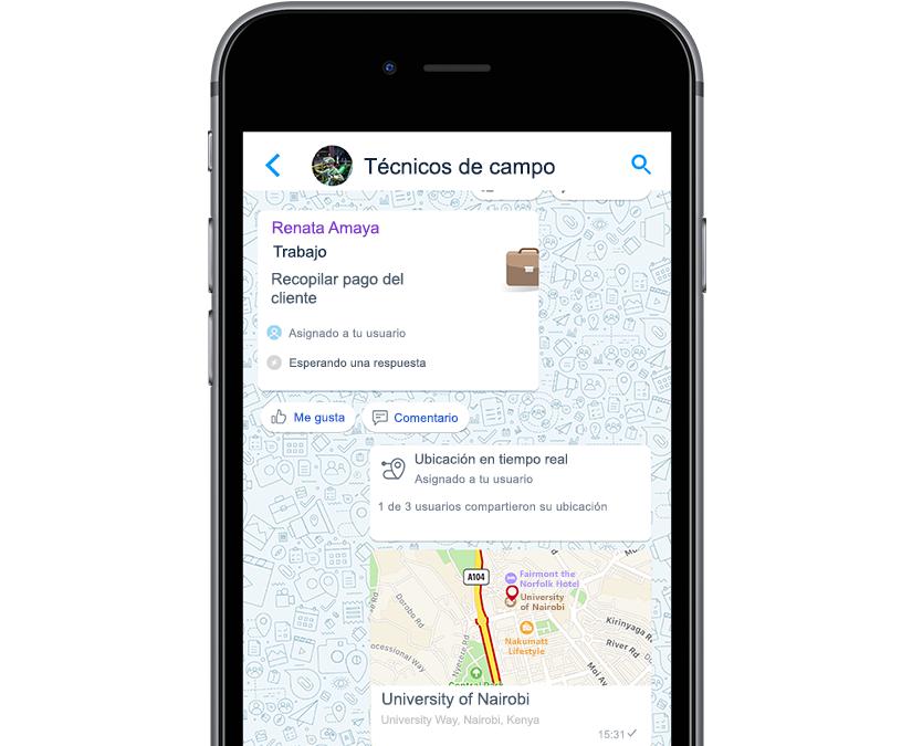 Fotografía que muestra la recopilación de pagos y la ubicación del trabajo en la pantalla de la aplicación.