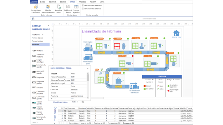 Captura de pantalla de un diagrama de Visio con datos vinculados con una hoja de cálculo de datos y datos de formas.