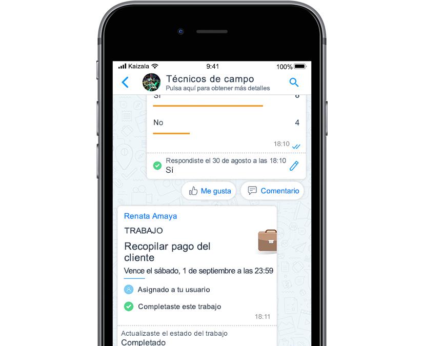 Fotografía de pantalla móvil con tarjeta de acción de Kaizala que muestra iconos con tareas