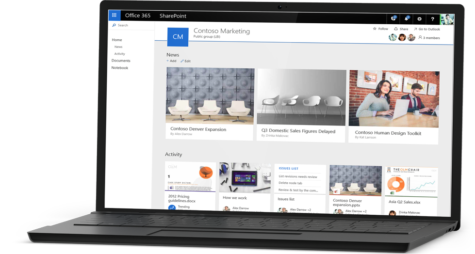 Captura de pantalla de una muestra del sitio de Contoso Marketing en SharePoint Online.