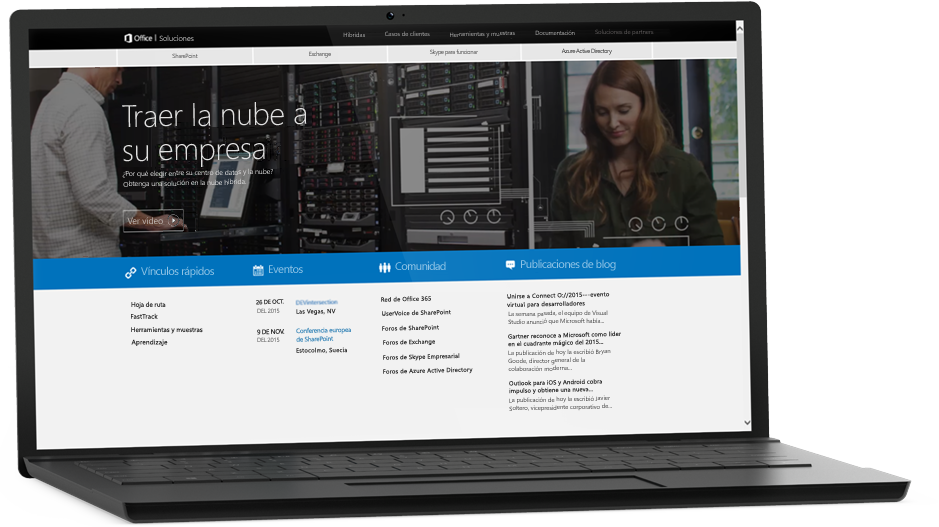 Portátil en el que se ve una página web; más información sobre SharePoint Server 2016 en Microsoft TechNet.