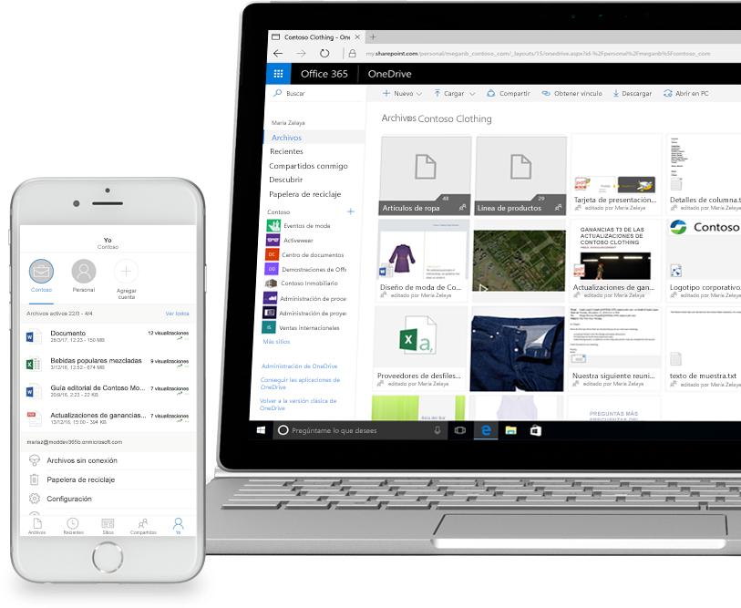 Un smartphone y un equipo portátil en los que se muestran archivos en SharePoint