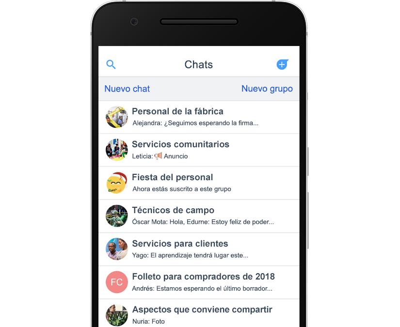 Fotografía que muestra una pantalla del chat en la aplicación