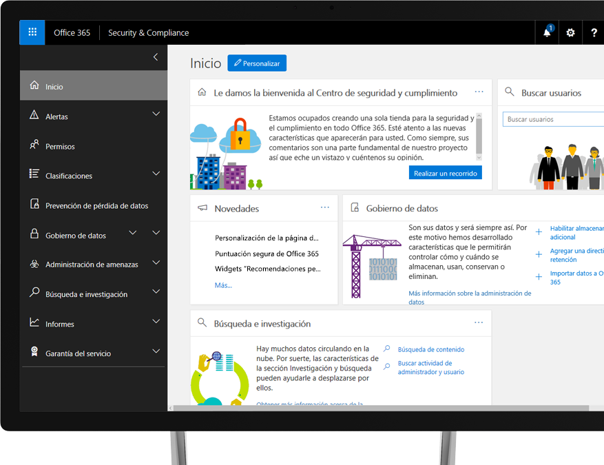 Centro de seguridad y cumplimiento de Office 365 en un monitor de escritorio con Windows