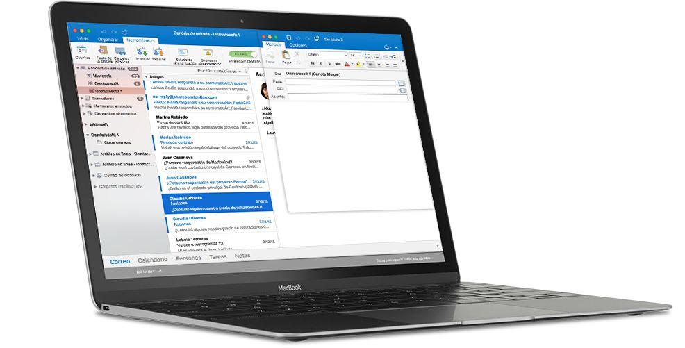 Un equipo MacBook donde se muestra una bandeja de entrada de correo electrónico en Outlook para Mac