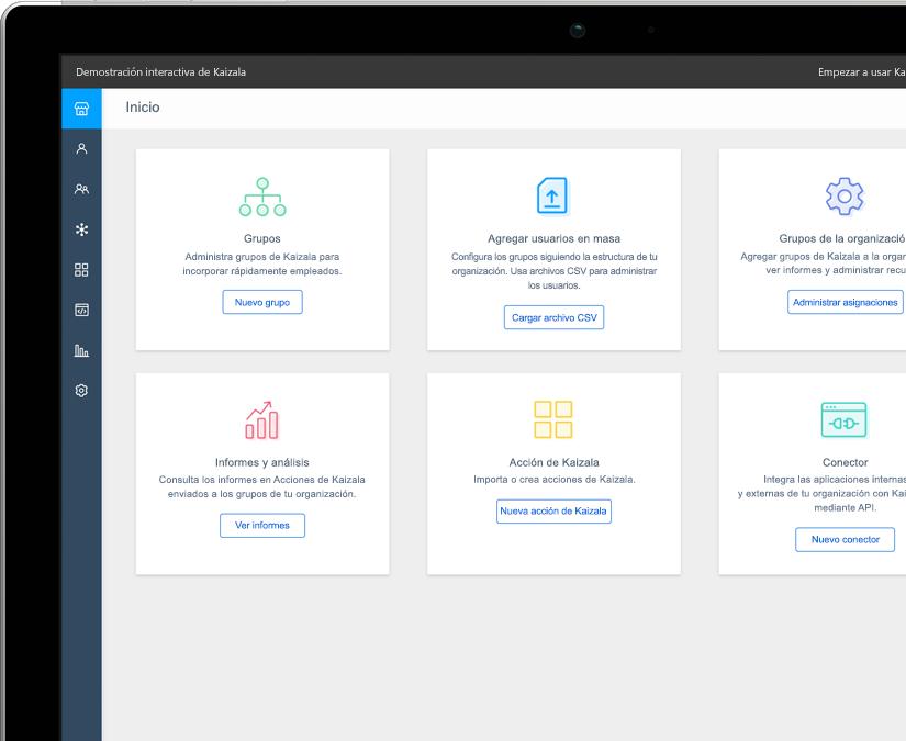 Fotografía de la pantalla de inicio de Kaizala en una tableta que muestra diferentes opciones de la aplicación