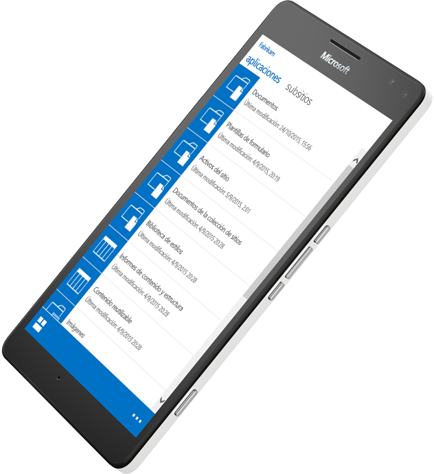 Dispositivo móvil que muestra SharePoint en uso para acceder a información, más información acerca de SharePoint Server 2016 en Microsoft TechNet