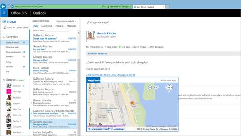 Imagen ampliada de la bandeja de entrada de un usuario en Outlook Web App con tecnología de Exchange.
