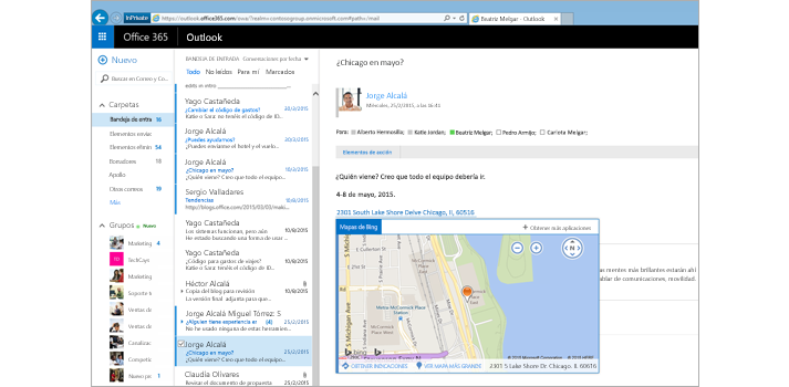 Imagen ampliada de la bandeja de entrada de un usuario en Outlook en la Web, con tecnología de Exchange.