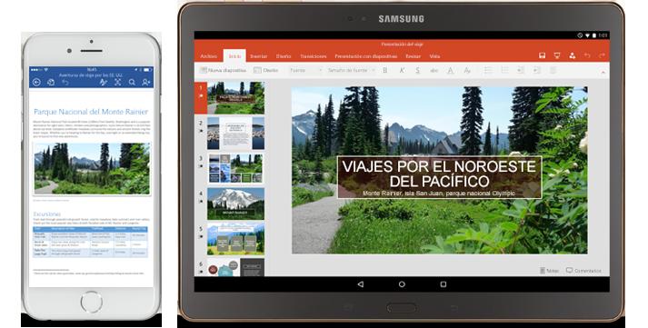 Office se mueve contigo: teléfono que muestra un documento de Word en proceso de edición y tableta que muestra diapositivas de PowerPoint en proceso de edición.