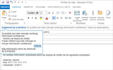 Imagen ampliada de un correo electrónico con una sugerencia de directiva para ayudar a prevenir el envío de información confidencial.