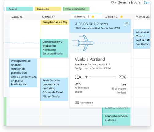 Un calendario de Exchange en el que se muestran los detalles de un vuelo y de otros eventos y citas