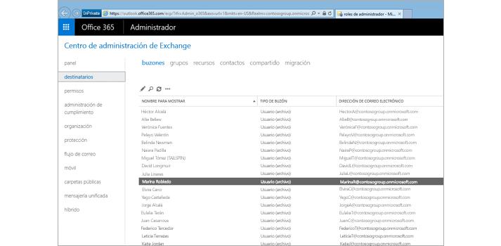 Una página del Centro de administración de Exchange desde donde se puede gestionar el sistema de correo electrónico.