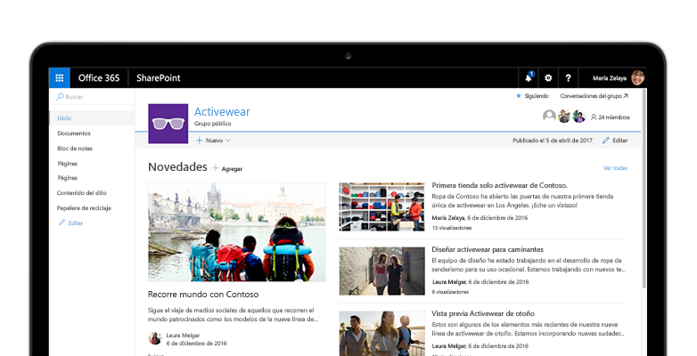un sitio de grupo de SharePoint en una Tablet PC