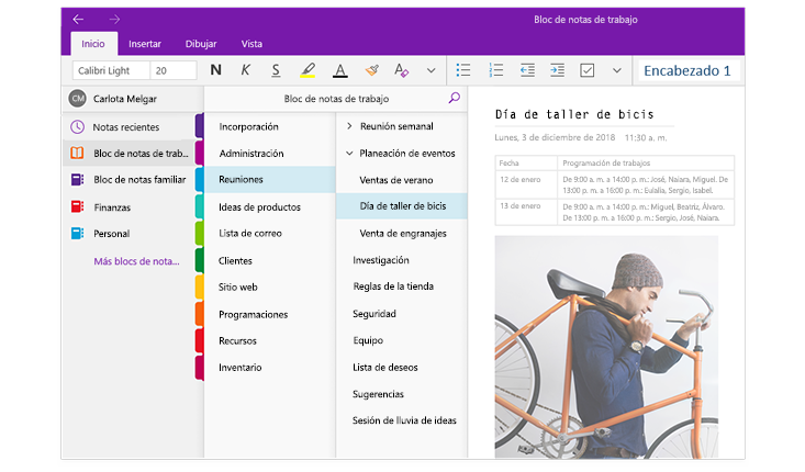 """Imagen de los paneles de navegación de OneNote con un lista de blocs de notas y la lista de secciones y páginas dentro de un bloc de notas titulado """"Bloc de notas del trabajo""""."""