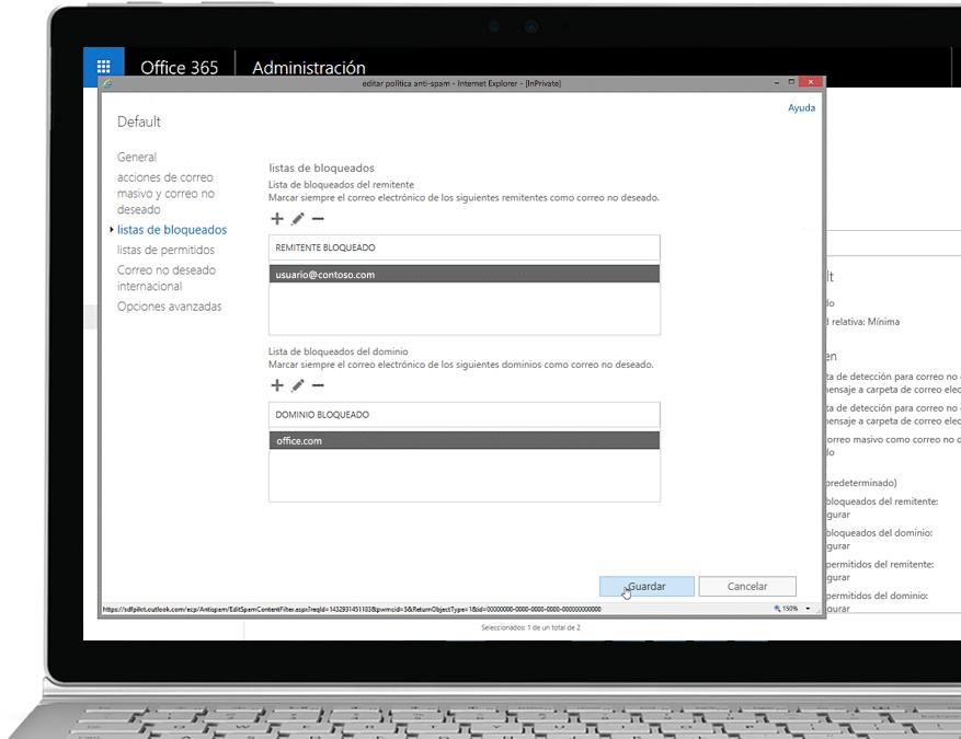 Una tableta que muestra la política contra correo no deseado editada en la consola del administrador de Office 365 con un remitente y un dominio permitidos