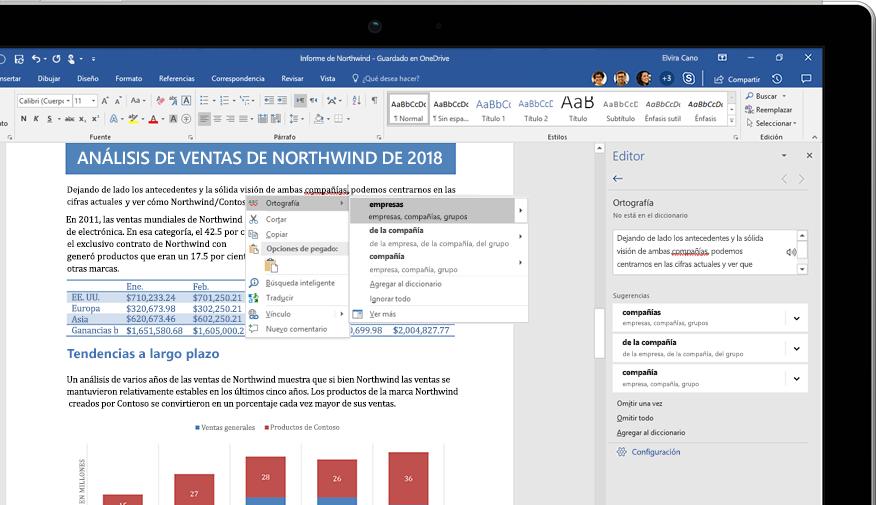 Una portátil donde se muestra un documento de Word y un primer plano de la característica Investigador con un artículo sobre la selva tropical del Amazonas.