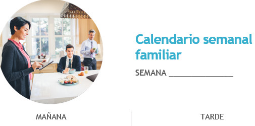 Documento de Word Calendario semana familiar que muestra una página de calendario en blanco