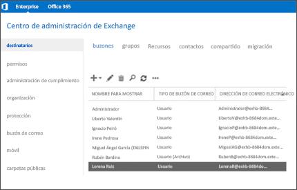 Imagen ampliada de una página del Centro de administración de Exchange desde donde se puede gestionar el sistema de correo.