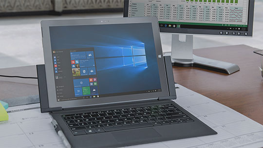 PC con el menú Inicio de Windows, descargar Windows 10 Enterprise evaluation