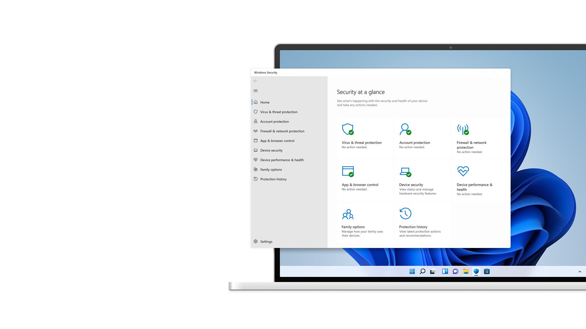 Pantalla de vista rápida de Seguridad de Windows 11 con flores en el fondo