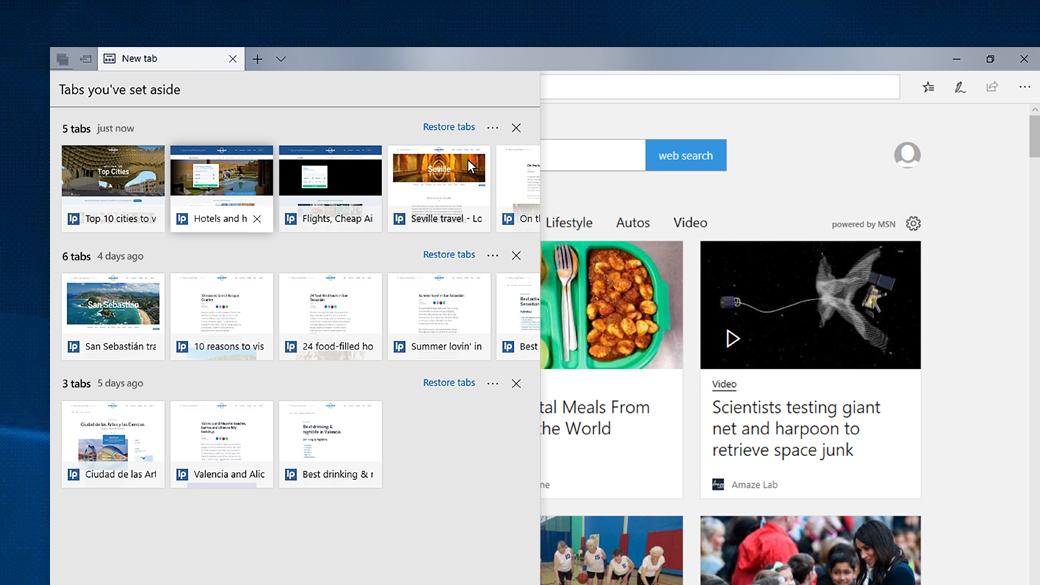 Imagen de pantalla de varias pestañas que se administran y organizan en Edge