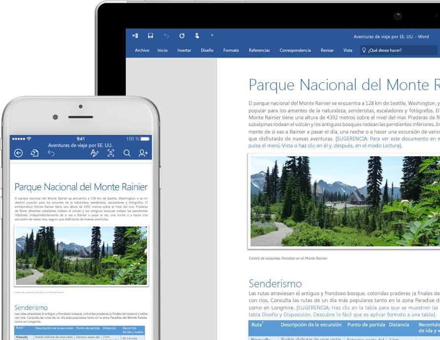 Teléfono celular y una portátil donde se muestra un documento de Word sobre el Parque Nacional del Monte Rainier