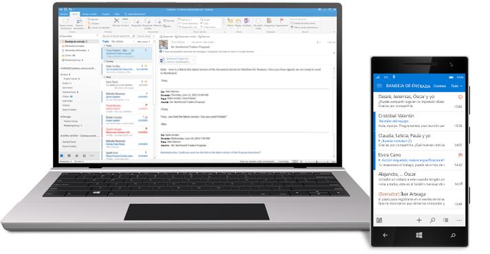 Una tableta y un smartphone donde se muestra una bandeja de entrada de correo electrónico de Office 365.