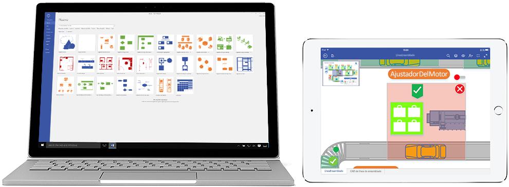 Diagramas de Visio Online Plan 2 mostrados en una portátil y un iPad.
