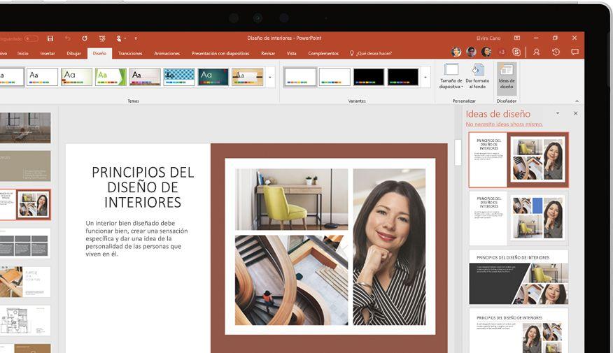 Presentación de PowerPoint en un dispositivo