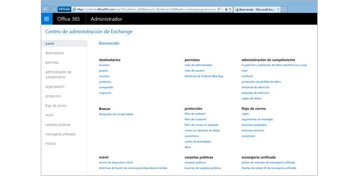 Imagen de primer plano del Centro de administración de Exchange Online