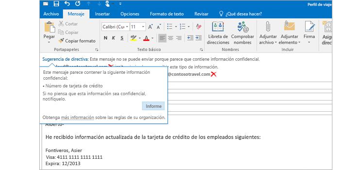 Primer plano de un mensaje de correo con una sugerencia de directiva para ayudar a los usuarios a impedir que envíen información confidencial.