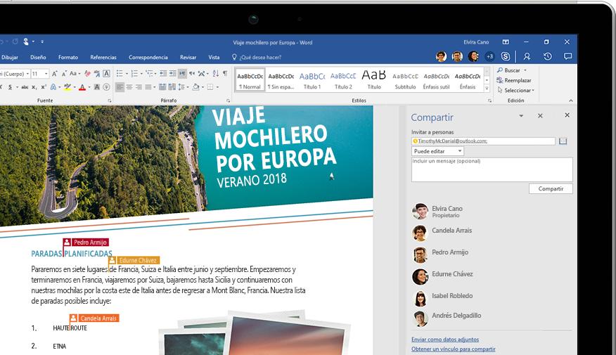 Funcionalidad Compartir de Word mostrada en una portátil
