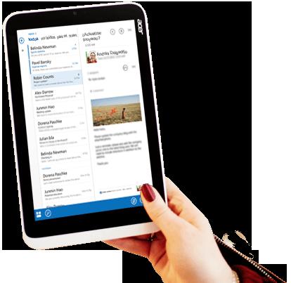 Una tableta que muestra una vista previa de un correo electrónico de Office 365 con un formato personalizado y una imagen.