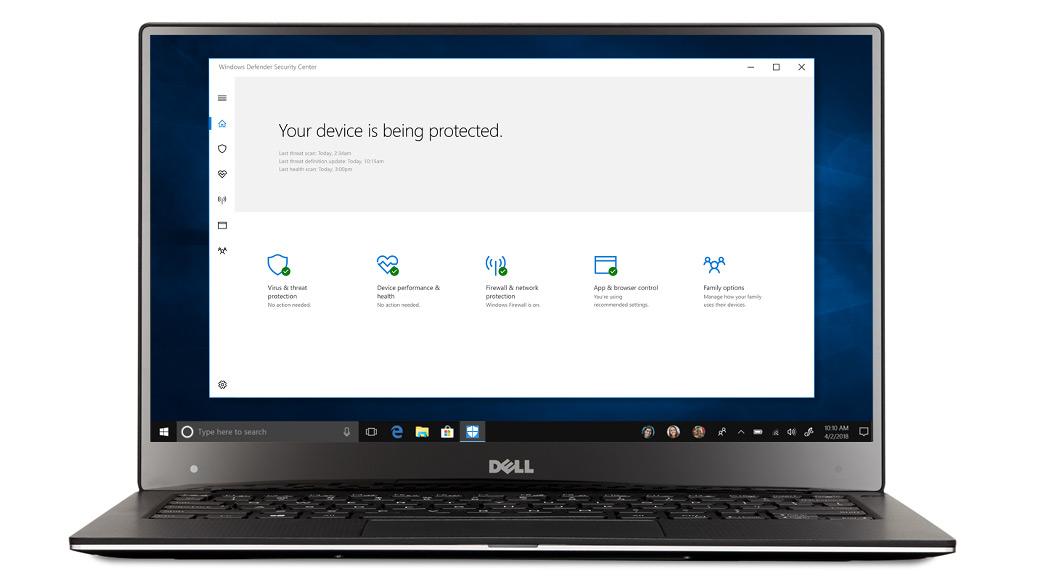 Portátil con ventanas de seguridad de Windows 10