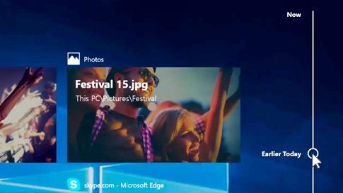 Pantalla de la nueva escala de tiempo en Windows 10 que muestra una escala de tiempo de aplicaciones y actividades pasadas