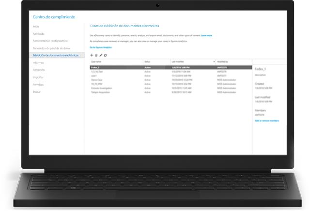 Un portátil que muestra casos de eDiscovery de Office 365 en el Centro de cumplimiento