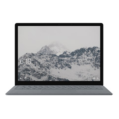 Vista frontal de Surface Laptop en platino con la pantalla Inicio y montañas nevadas