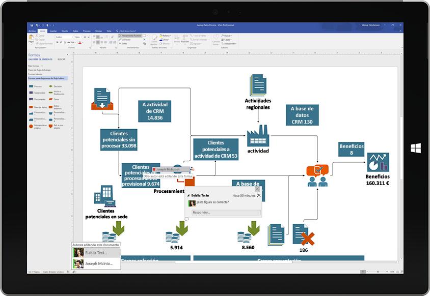 Tableta Surface donde se muestra la colaboración en un diagrama de Visio, con comentarios de otros usuarios que aparecen en la pantalla