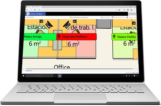 Un portátil en el que se muestra una imagen ampliada en Visio Online