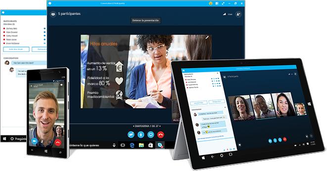 Ventana de mensajería instantánea de Skype Empresarial, junto a un equipo, una tableta y un teléfono en los que se destaca Skype Empresarial