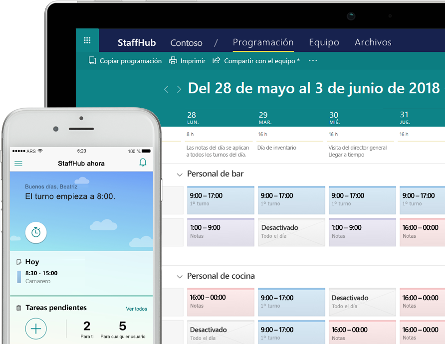 Aplicación StaffHub en la que se muestran tareas en un smartphone y una tableta